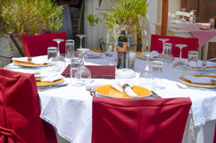 Restaurant tables outside Stock Images