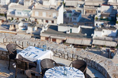 Restaurant tables with panoramic view Royalty Free Stock Image