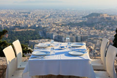 Restaurant tables with panoramic view Stock Image