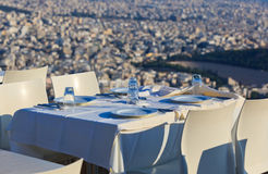Restaurant tables with panoramic view Stock Photography