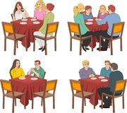 Restaurant tables with people. Talking Royalty Free Stock Photo