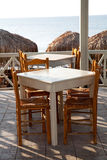 Restaurant tables in Perissa, Santorini, Greece Royalty Free Stock Image