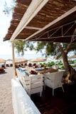 Restaurant tables in Perissa, Santorini, Greece Stock Image