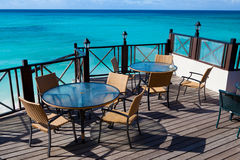 Restaurant tables with sea view Stock Image