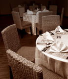 Restaurant tables setup Stock Image