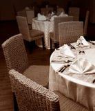 Restaurant tables setup. Tables setup in a restaurant stock image