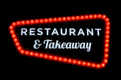 Restaurant and take away neon sign. With red bulbs on black background Stock Images