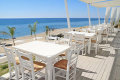 Restaurant - tavern by the sea Royalty Free Stock Images