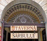 Logo of Romanian restaurant Taverna Sarbului - landmark attraction in Brasov, Romania Royalty Free Stock Photo