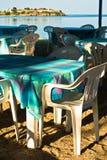 Restaurant, taverna, in shade of trees at Toroni beach Royalty Free Stock Photos