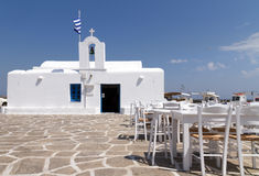 Restaurant taverns in greek island Stock Photos