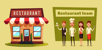 Restaurant team. Cartoon vector illustration. Chef, bartender, manager and waiter. Crew of professionals Royalty Free Stock Images