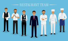 Restaurant team concept. Group of characters standing together: manager, chef, cook, two waiters and barman in uniform. Royalty Free Stock Photo