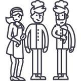Restaurant team,waiter, cooker. bartender vector line icon, sign, illustration on background, editable strokes Stock Photos