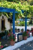 Restaurant terrace. In Kos town, Greece Stock Photos