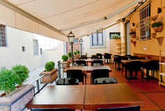 Restaurant terrace. In Florence Italy Stock Photo