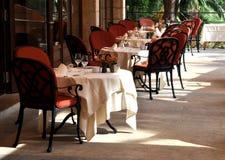 Restaurant terrace. A gourmet restaurant terrace on a sunny day Stock Image