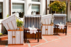 Restaurant terrace with beach chairs Stock Photography