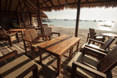 A restaurant terrace on beach front Stock Image