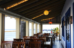 Empty Restaurant Terrace with Blue Water View Stock Photography