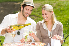 Restaurant terrace elegant couple sunny day. Italian restaurant terrace elegant couple celebrate drink wine summer day Stock Photos