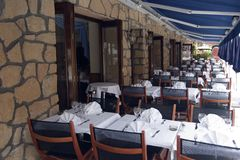 Restaurant terrace in France. Waiting for customers stock photo