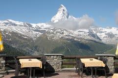 Restaurant terrace with Matterhorn. Restaurant terrace at Sunnegga with Matterhorn Royalty Free Stock Photos