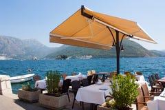 Restaurant terrace. Next to the Danube Stock Image
