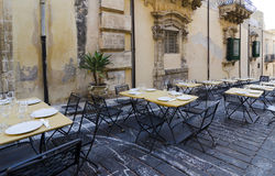 Restaurant Terrace in Noto. Street restaurant in the town of Noto, Sicily Royalty Free Stock Images