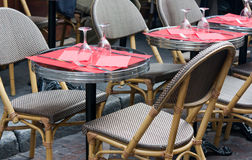 Restaurant terrace in Paris. A typical French restaurant table on terrace Royalty Free Stock Photography