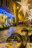 Restaurant terrace in Rome at night Stock Photo