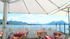 Restaurant terrace, scenic view. stock footage