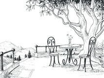 Restaurant terrace sketch. Outdoor scene pencil drawing Stock Photos