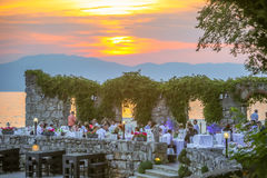 Restaurant terrace at sunset Royalty Free Stock Image