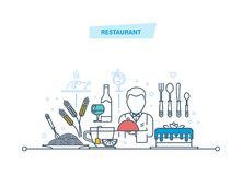 Restaurant thin line icons, pictogram and symbol. Food, drinks, employees. Royalty Free Stock Image