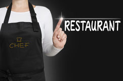 Restaurant touchscreen is operated by chef Royalty Free Stock Photo