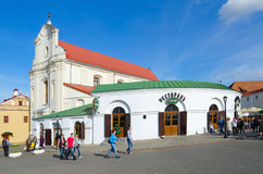 Restaurant At town hall and Church of St.Joseph, Minsk royalty free stock photography