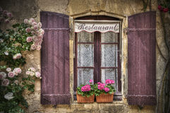 Restaurant. A traditional French market town Restaurant in Montpazier stock photos