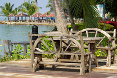 Restaurant on a tropical beach Royalty Free Stock Image