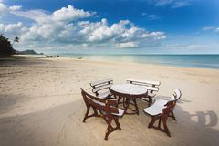 Restaurant on tropical beach Royalty Free Stock Photo