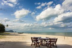 Restaurant on tropical beach Stock Images