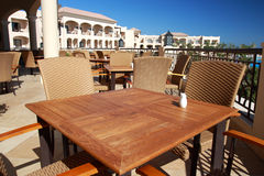 Restaurant in tropical hotel. Morocco. Royalty Free Stock Images