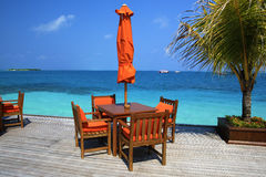Restaurant on a tropical paradise island Royalty Free Stock Photography