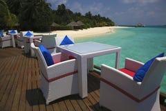 Restaurant on a tropical paradise island Stock Photos