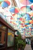 Restaurant with umbrellas Stock Photos
