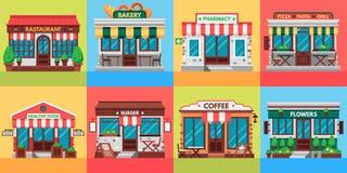 Restaurant- und Geschäftsfassaden Altes Bürogebäude, Marktspeicher und flacher außenvektor der Restaurantgebäude stock abbildung