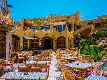 Restaurant under the open blue sky in Hurghada.Egypt royalty free stock image