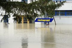 Restaurant under water - extraordinary flood, on Danube in Bratislava Stock Photography