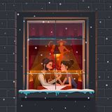 Restaurant. Valentine`s Day. Guy and the girl a romantic meeting at themed Mexican restaurants. Restaurant. Valentine`s Day. Guy and the girl a romantic meeting Stock Images
