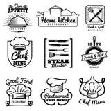 Restaurant vector uitstekend embleem Chef-kok retro etiketten Het koken in keukenemblemen stock illustratie